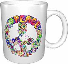 Hippie Flower Power signe de paix lumineux Multi