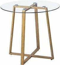 HJ STORE Transparent Ronde Table en Verre Table de