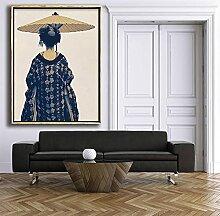 HJKLP Geisha Murale Art Boho Chic Kimono Bleu Et