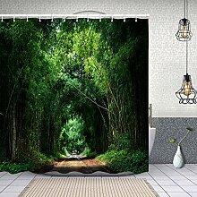 HLSCYZ Rideau de Douche Tissu Polyester,Bambou
