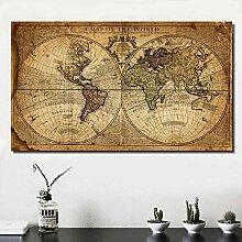 HNBLSHM Art Carte du Monde HD rétro Vieille Photo