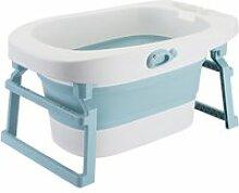 Hombuy 3 en 1 baignoire bébé pliable bleu en pp