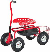 Homcom - 2 en 1 tabouret pivotant chariot mobile