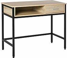 HOMCOM Bureau Style Industriel casier + tiroir