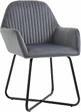 Homcom - Chaise design néo-rétro dossier strié