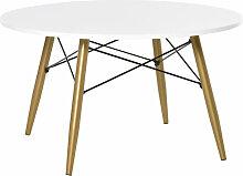 Homcom - Table basse ronde design scandinave dim.