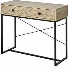 HOMCOM Table Console Industriel 2 tiroirs Bois