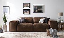 home24 Grand canapé Burrill Aspect cuir vieilli
