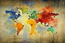 Homemania Tableau carte du monde multicolore en