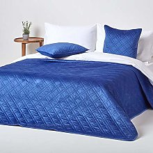HOMESCAPES - Couvre-lit en Velours matelassé Bleu