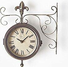 HOMESCAPES Horloge de Gare Double Face avec