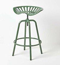 HOMESCAPES Tabouret de Bar Vintage Vert avec
