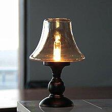 HOMMAX Lampe de table vintage à piles - En verre