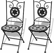 Hommoo Chaises pliables de bistro 2 pcs Céramique