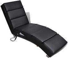 Hommoo Fauteuil de massage Noir Similicuir HDV08463