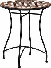 Hommoo Table de bistro mosaïque Marron 60