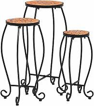 Hommoo Tables mosaïque 3 pcs Terre cuite