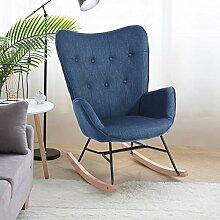 HOMYCASA Fauteuil à bascule en tissu avec assise