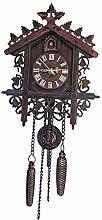 Homyl Horloge Murale Coucou Pendule en Bois