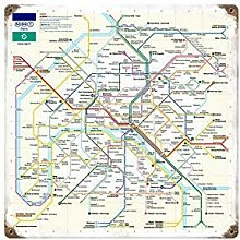 HONGXIN Plaque murale en métal Paris Metro -