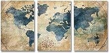 HonJun Tableau Carte du Monde Mural Peinture de