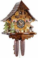 Horloge à coucou mécanique en bois véritable -