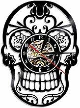 Horloge à Suspendre adhésive Noire à LED