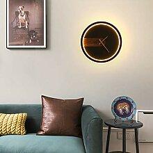 Horloge Applique Murale Salon Fond Mur Led Lampe