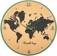 Horloge carte du monde en liège - Ø48 cm -