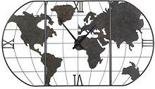 Horloge carte du monde en métal noir effet
