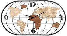 Horloge carte du monde filaire noire et marron