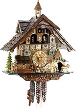 Horloge coucou mécanique en bois véritable avec