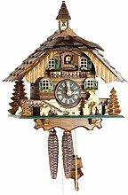 Horloge coucou mécanique en bois véritable -