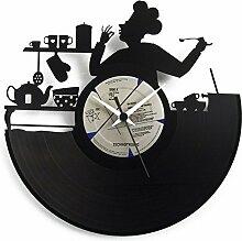 Horloge de cuisine Chef en vinyle idée cadeau