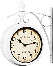Horloge de gare à double sens noir blanc 29 x 9,5