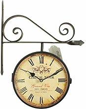 Horloge De Gare Ancienne Double Face Cheval Noir