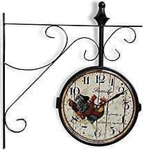 Horloge De Gare Ancienne Double Face Family Coq