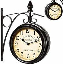 Horloge de gare noire à double sens – 2