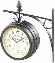 Horloge de gare rétro double face avec