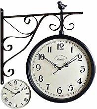 Horloge de Gare Rétro Double Face Pendule Murale