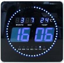 Horloge digitale à LED bleu 28 cm Noir
