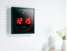 Horloge digitale radio-pilotée rouge