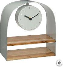Horloge étagère, métal   bois 24x27 cm