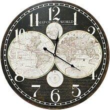 Horloge hémisphère en bois mdf noir D58