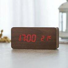 Horloge,Horloge alarme numérique LED en bois