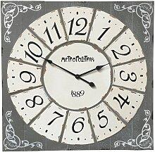 Horloge industrielle carré en métal et bois 78x78