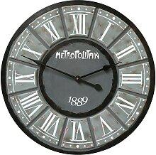 Horloge industrielle en bois D61