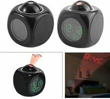 Horloge LED, réveil vocal noir, horloge de