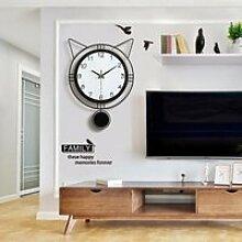 Horloge mural Nouveauté Chat Silencieuse Horloge