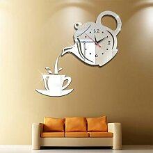 Horloge murale 3D créative en acrylique, tasse de